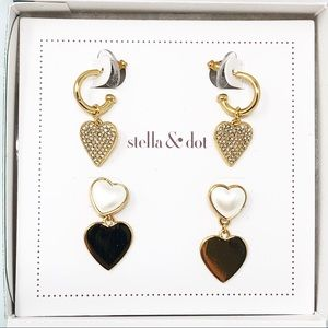 """Stella & Dot """" Hearts Beat As One"""" Earring Pack"""